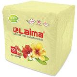 Салфетки бумажные 100 шт., 24х24 см, LAIMA/ЛАЙМА, жёлтые (пастельный цвет), 100% целлюлоза, 126908