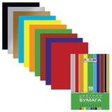 "Цветная бумага А4 мелованная, 10 листов 10 цветов, в папке, HATBER ""Creative"", 195х280 мм, 10Бц4м 05930, N050842"