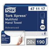 Полотенца бумажные (1 пачка 190 листов) TORK (H2) Advanced, 2-слойные, белые, 23,4х21,3, Z-сложение, 471117
