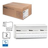 Полотенца бумажные 200 шт., VEIRO (Система H3/F1), комплект 15 шт., Comfort, 2-слойные, белые, 21х21,6, V, KV205
