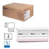 Полотенца бумажные 200 шт., VEIRO (Система H3/F1), комплект 15 шт., Premium, 2-слойные, белые, 21х21,6, V, KV306