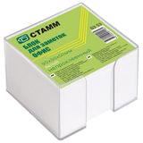 """Блок для записей СТАММ """"Офис""""в подставке прозрачной, куб 9х9х5, белый, БЗ 53"""