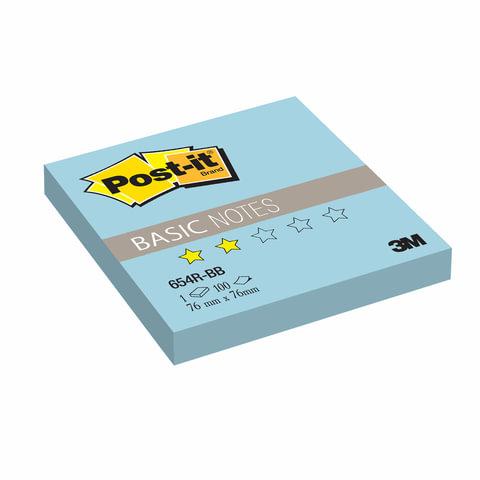 Блок самоклеящийся (стикер) POST-IT Basic, 76х76 мм, 100 л., голубой, 654R-BB