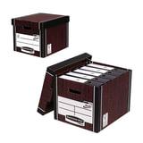 "Короб архивный FELLOWES (BANKERS BOX) ""Woodgrain"", 32,5x28,5x38,5 см, с крышкой, гофрокартон, коричневый, FS-00610"