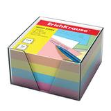 Блок для записей ERICH KRAUSE в подставке прозрачной, куб, 9х9х5 см, цветной, 5141