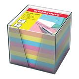 Блок для записей ERICH KRAUSE в подставке прозрачной, куб, 9х9х9 см, цветной, 5142