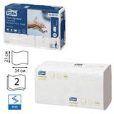 Полотенца бумажные 100 шт., TORK (Система H2) Premium, комплект 21шт., 2-слойные, белые, 21х34, Multifold, 100297