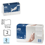 Полотенце бумажное 190 шт., TORK (Система H2) Advanced, 2-слойное, белое, 21х23, Multifold, 471135