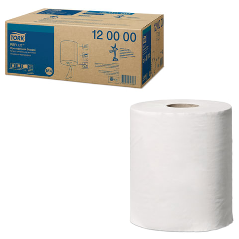 Бумага протирочная/полотенца TORK (M4) Reflex, КОМПЛЕКТ 6 шт., 270 м, с центральной вытяжкой, 120000