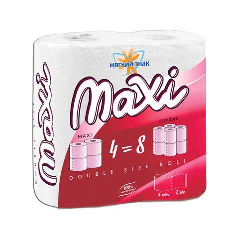 Бумага туалетная бытовая, спайка 4 шт., 2-х слойная (4х40 м), МЯГКИЙ ЗНАК Maxi, белая, C118