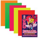 "Цветная бумага, А4, самоклеящаяся флуоресцентная, 5 листов, 5 цветов, HATBER, ""Девочки"", 194х280 мм, 5Бц4сф 15375, N221600"