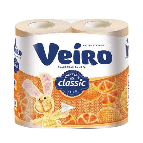 Бумага туалетная бытовая, спайка 4 шт., 2-х слойная (4х17,5 м), VEIRO Classic, оранжевая, 5с24ж