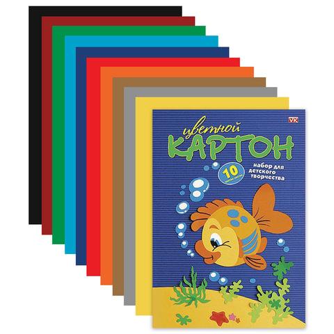 Картон цветной А4 МЕЛОВАННЫЙ, 10 листов 10 цветов, в папке, HATBER VK, 195х290 мм,