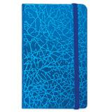 "Бизнес-блокнот BRAUBERG, А7+, 95х145 мм, ""Irida"", кожзаменитель металлик, резинка, линия, 64 л., синий, 128046"