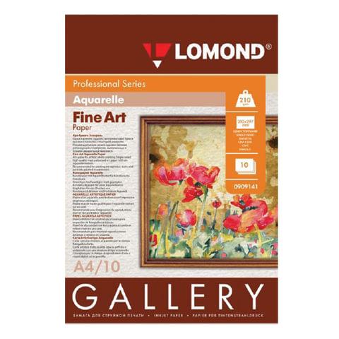 Дизайн-бумага LOMOND, фактура акварели, A4, 210 г/м<sup>2</sup>, 10 листов, односторонняя, матовая, 0909141