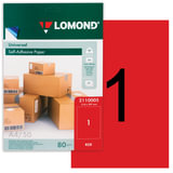 Этикетка самоклеящаяся 210х297 мм, 1 этикетка, красная, 80 г/м<sup>2</sup>, 50 листов, LOMOND, 2110005