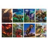 """Блокнот А7, 40 л., склейка, пластиковая 3D-обложка, BRAUBERG, """"Динозавры"""", 8 видов в дисплее, 64х82 мм, 128085"""