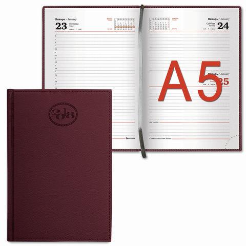"""Ежедневник датированный 2018, А5, BRAUBERG """"Favorite"""", """"фактурная кожа"""", бордовый, 138х213 мм, 128119"""