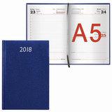 "Ежедневник датированный 2018, А5, BRAUBERG ""Profile"", ""фактурная кожа"", синий, 138х213 мм, 128140"