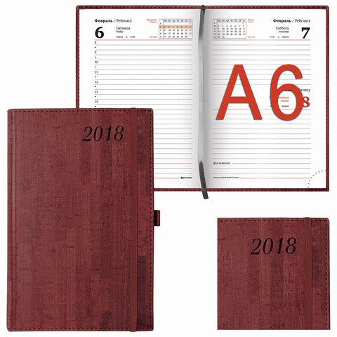 """Ежедневник датированный 2018, А6, BRAUBERG """"Wood"""", """"благородное дерево"""", бордовый, 100х150 мм, 128192"""