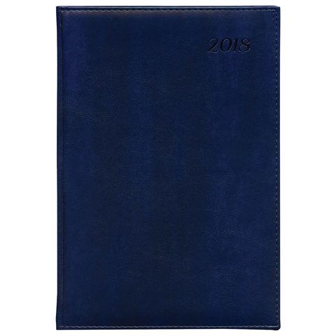 """Еженедельник датированный 2018, A4-, BRAUBERG """"Legend"""", """"гладкая кожа"""", синий, 190х268 мм, 128199"""
