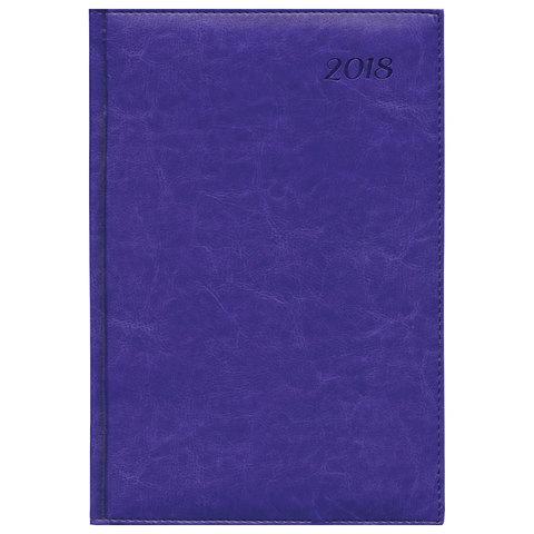 """Еженедельник датированный 2018, A4-, BRAUBERG """"Legend"""", """"гладкая кожа"""", фиолетовый, 190х268 мм, 128201"""