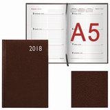 """Еженедельник датированный 2018, А5, BRAUBERG """"Profile"""", """"фактурная кожа"""", коричневый, 145х215 мм, 128207"""