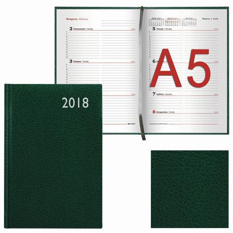 """Еженедельник датированный 2018, А5, BRAUBERG """"Profile"""", """"фактурная кожа"""", зеленый, 145х215 мм, 128209"""