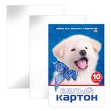 Белый картон, А4, мелованный, 10 листов, 230 г/м<sup>2</sup>, в папке, HATBER VK &quot;Белый щенок&quot;, 10Кб4 15023, N234884