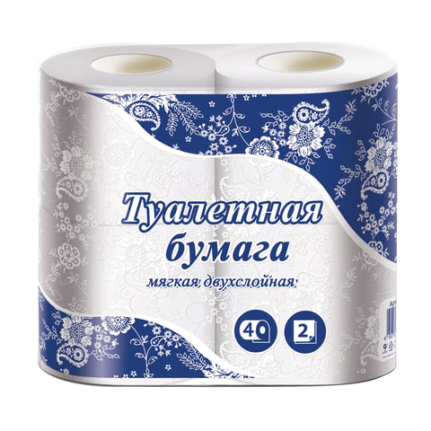 Бумага туалетная бытовая, спайка 4 шт., 2-х слойная (4х15 м), белая, ТБ24NN