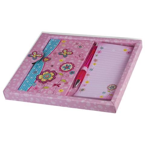 Блокнот А5 (95х170 мм), 80 л., твердый переплет, без линовки, ручка+блок, подарочная упаковка, BRAUBERG,