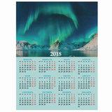 """Календарь А2 на 2018 г., HATBER, 45х60 см, вертикальный, """"Северное сияние"""", Кл2 16409, K250693"""