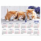 """Календарь А2 на 2018 г., HATBER, 45х60 см, горизонтальный, """"Кошки"""", Кл2 16936, K251041"""