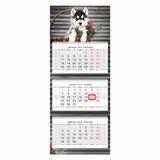 """Календарь квартальный на 2018 г., HATBER, Люкс, 3-х блочный, на 3-х гребнях, """"Год собаки"""", 3Кв3гр2 16873, K247358"""