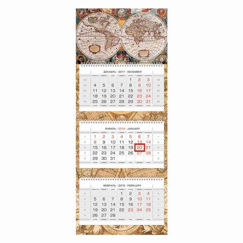 """Календарь квартальный на 2018 г., HATBER, Люкс, 3-х блочный, на 3-х гребнях, """"Старинная карта"""", 3Кв3гр2 14500, K247334"""