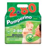 """Салфетки влажные, 160 (80х2) шт., для детей, PAMPERINO """"Duo"""", с экстрактом алоэ вера, 48497"""