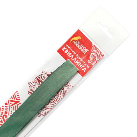 Бумага для квиллинга зеленая, 125 полос, 3 мм х 300 мм, 130 г/м2, ОСТРОВ СОКРОВИЩ, 128764