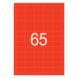 Этикетка самоклеящаяся 38х21,2 мм, 65 этикеток, неово-красная, 65 г/м<sup>2</sup>, 50 л., STAFF, 128845