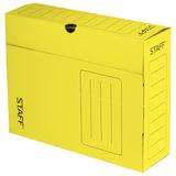 Короб архивный с клапаном, микрогофрокартон, 100 мм, до 900 листов, желтый, STAFF, 128 865