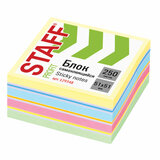 Блок самоклеящийся (стикеры) STAFF, ПАСТЕЛЬНЫЙ, 51х51 мм, 250 листов, 7 цветов, 129348