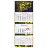 """Календарь квартальный на 2019 г., HATBER, """"Люкс"""", 3-х блочный, на 3-х гребнях, """"Весенний букет"""", 3Кв3гр2ц 18676, K283097"""