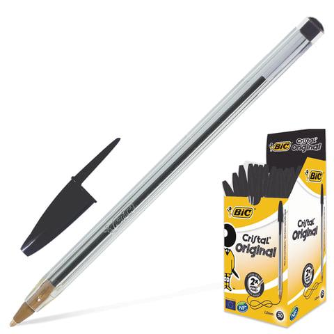 """Ручка шариковая BIC """"Cristal"""" (Франция), корпус прозрачный, черные детали, толщина письма 0,4 мм, черная, 847897"""