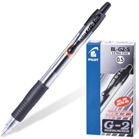 Ручка гелевая PILOT автоматическая, BL-G2-5, 0,3 мм, черная