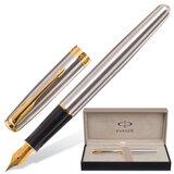 """Ручка перьевая PARKER """"Sonnet Stainless Steel GT"""", корпус серебристый, нержавеющая сталь, позолоченные детали, черная, S0809110"""