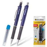 "Набор BRAUBERG ""Modern"", ручка шариковая + механический карандаш 0,5 мм + грифели 12 шт., блистер, синяя, 140661"