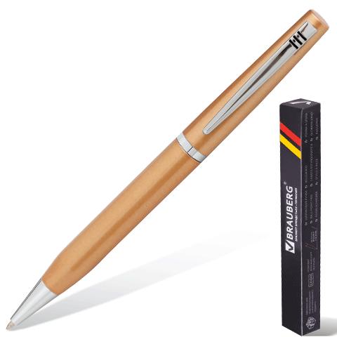 Ручка шариковая BRAUBERG бизнес-класса, BC015, корпус золот., хром. детали, 140705, синяя