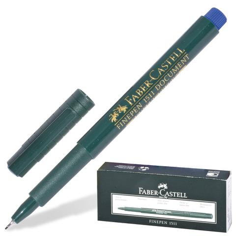 """Ручка капиллярная FABER-CASTELL """"Finepen 1511"""", корпус зеленый, толщина письма 0,4 мм, синяя, FC151151"""