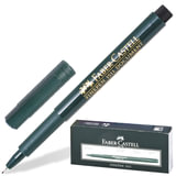 """Ручка капиллярная (линер) FABER-CASTELL """"Finepen 1511"""", ЧЕРНАЯ, корпус темно-зеленый, линия 0,4 мм, 151199"""