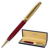 """Ручка подарочная шариковая GALANT """"Bremen"""", корпус бордовый с золотистым, золотистые детали, пишущий узел 0,7 мм, синяя, 141010"""