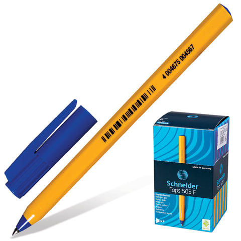 Ручка шариковая SCHNEIDER TOPS F 505 (Германия), одноразовая, корпус желтый, 0,3 мм, синяя, S507/3